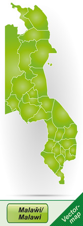 malawi: Map of Malawi with borders in green