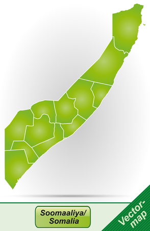 Map of Somalia with borders in green