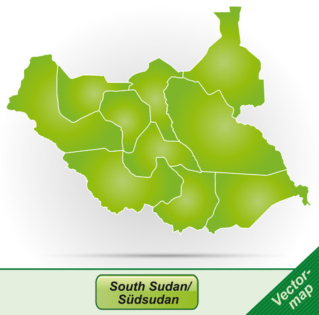 south sudan: Map of South Sudan with borders in green