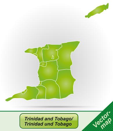 trinidad: Map of Trinidad and Tobago with borders in green