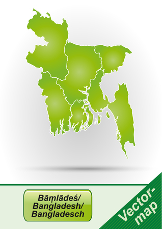 bangladesh: Map of Bangladesh with borders in green Illustration