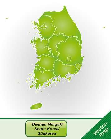 Map of South Korea with borders in green Illustration