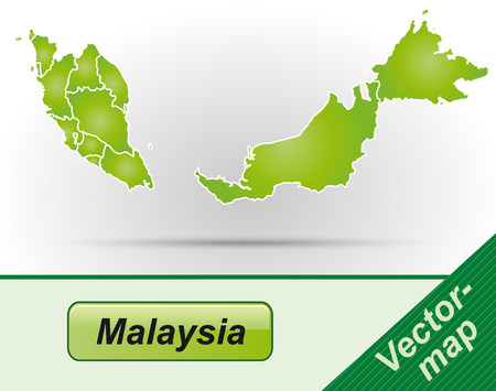 Map of Malaysia with borders in green Vectores