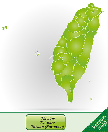 Map of Taiwan with borders in green Illustration