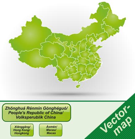 Kaart van China met randen in het groen