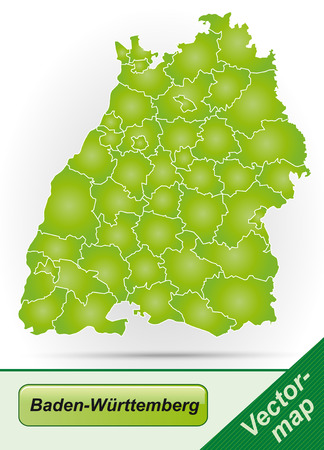 stuttgart: Map of Baden-Wuerttemberg with borders in green