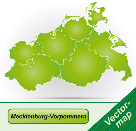 greifswald: Map of Mecklenburg-Western Pomerania with borders in green