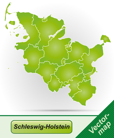 holstein: Map of Schleswig-Holstein with borders in green