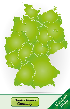Map of Germany with borders in green