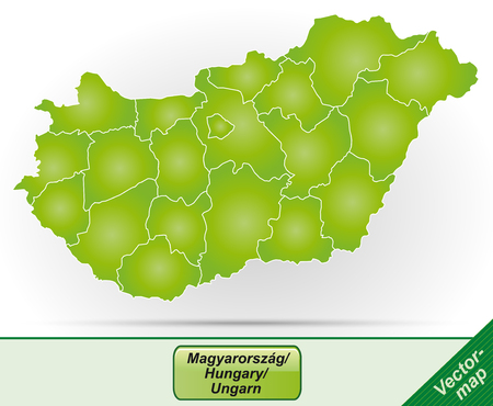 Map of Hungary with borders in green