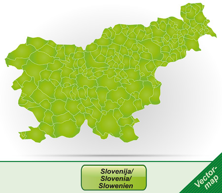 Map of Slovenia with borders in green