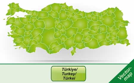 Map of Turkey with borders in green Vectores