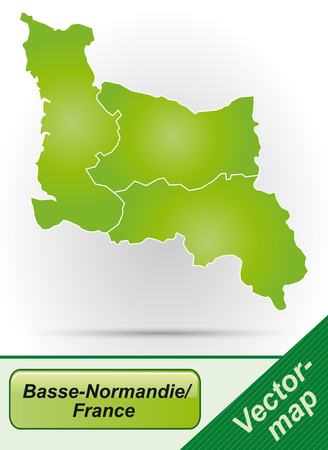 normandy: Map of Lower Normandy with borders in green Illustration