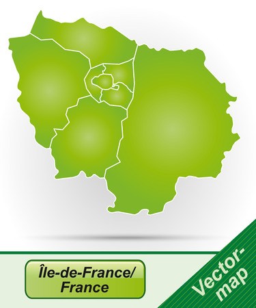 Map of Ile-de-France with borders in green Stock Illustratie