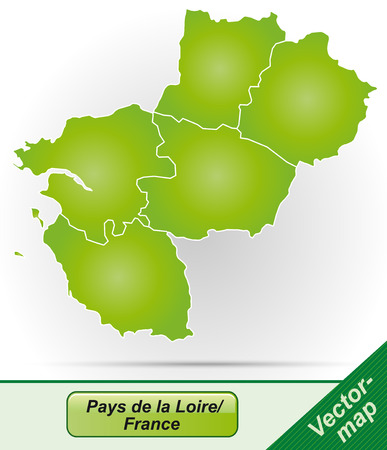 Map of Pays de la Loire with borders in green Illustration