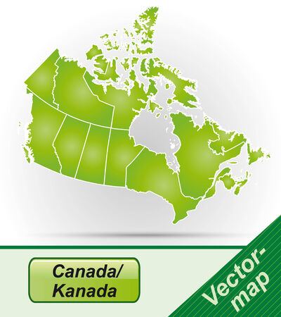 map of canada: Map of Canada with borders in green