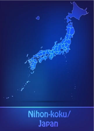Map of Japan with borders as scrible