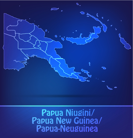 papua: Map of Papua New Guinea with borders as scrible