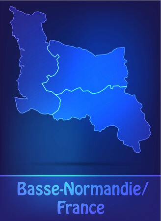 normandy: Map of Lower Normandy with borders as scrible Illustration