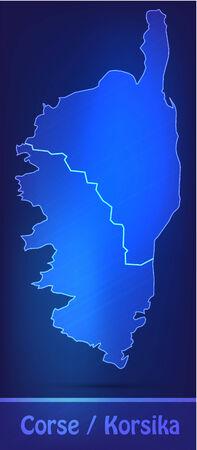 ajaccio: Map of corsica with borders as scrible