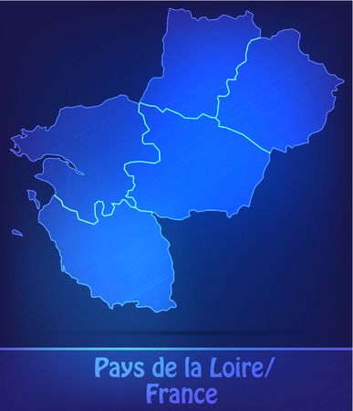 Map of Pays de la Loire with borders as scrible Vector