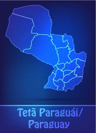 Map of Paraguay with borders as scrible
