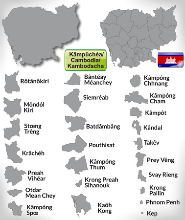 Map of Cambodia with borders in gray Vector