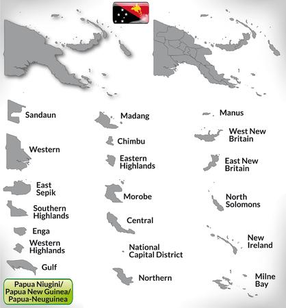 papouasie: Carte de la Papouasie-Nouvelle-Guin�e avec des fronti�res en gris