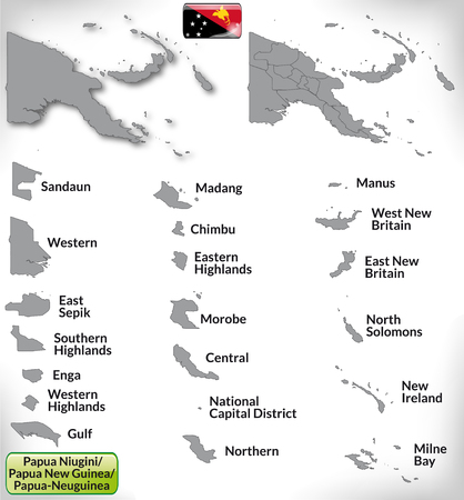papua: Map of Papua New Guinea with borders in gray Illustration
