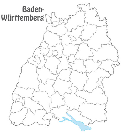 Map of Baden-Wuerttemberg with borders in gray Иллюстрация