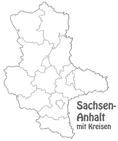 lasting: Map of Saxony-Anhalt with borders in gray Illustration