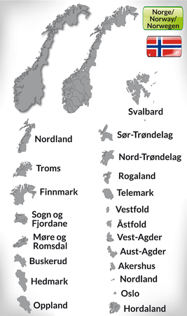 Map of Norway with borders in gray Illustration