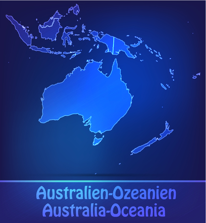 canberra: Map of australia-oceania with borders as scrible
