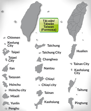Map of Taiwan with borders in gray