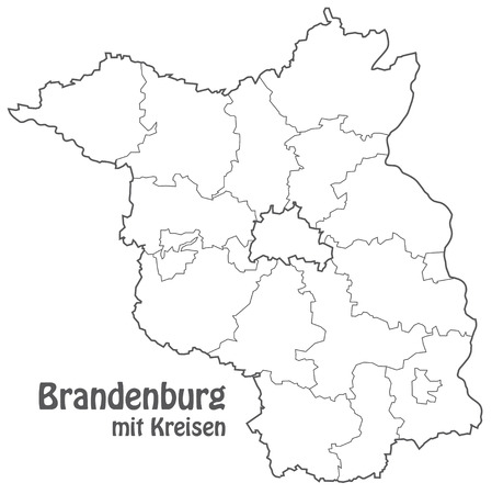 Map of Brandenburg with borders in gray Vector