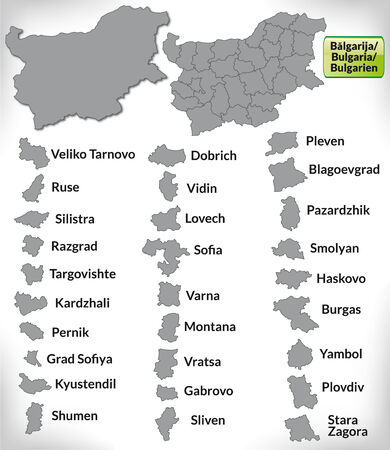 Map of Bulgaria with borders in gray Illustration