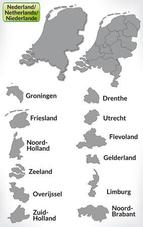 Kaart van Nederland met randen in grijs