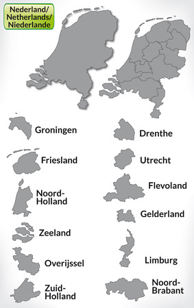 haarlem: Map of Netherlands with borders in gray