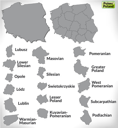 Map of Poland with borders in gray