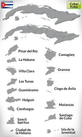 havana cuba: Map of Cuba with borders in gray