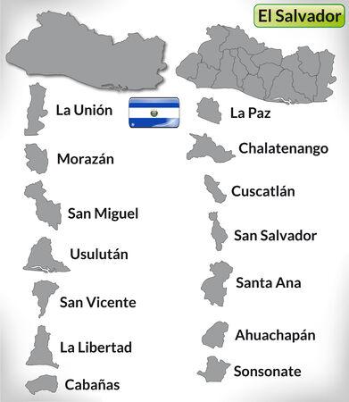 mapa de el salvador: Mapa de el-salvador con bordes en gris