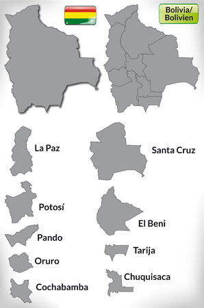cochabamba: Map of Bolivia with borders in gray