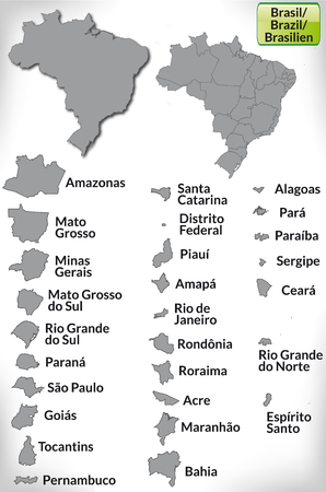 Map of Brazil with borders in gray