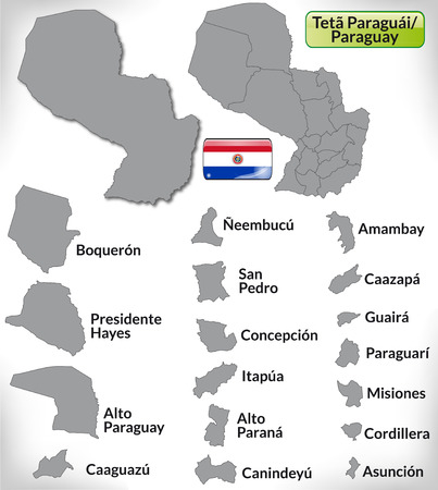 Map of Paraguay with borders in gray Ilustração