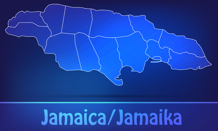 black maria: Map of Jamaica with borders as scrible Stock Photo