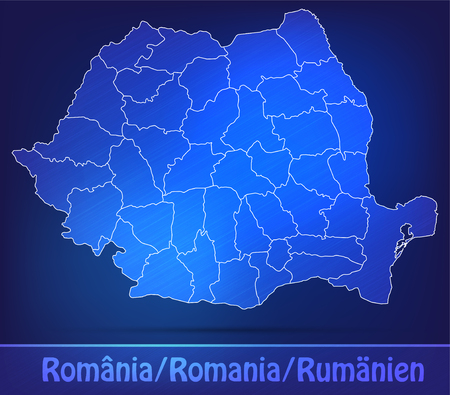 Map of Romania with borders as scrible Stock Photo