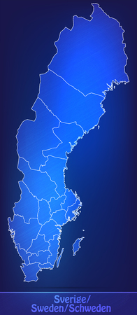 sverige: Map of Sweden with borders as scrible