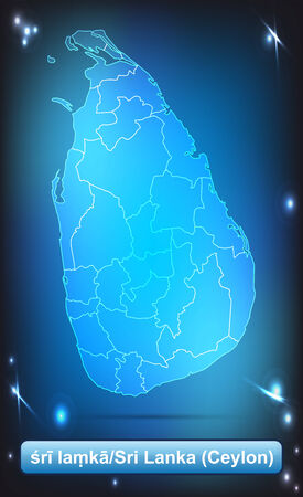 ceylon: Map of Sri Lanka with borders with bright colors