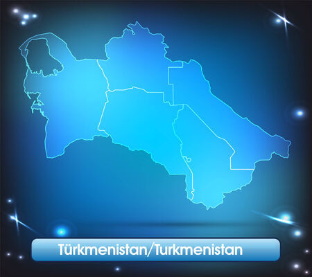turkmenistan: Map of turkmenistan with borders with bright colors Stock Photo