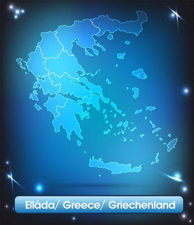 Map of Greece with borders with bright colors Reklamní fotografie